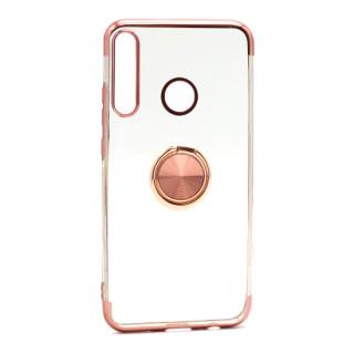 Futrola MAGNETIC RING CLEAR za Huawei P40 Lite E roze