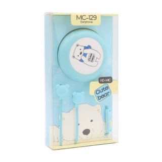 Slusalice 3.5mm Cute Bear plave
