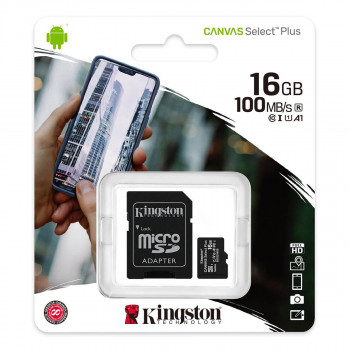 MikroSD mem.kart.16GB Kingston Select Plus klasa1