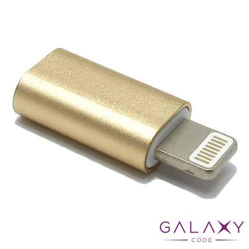 Adapter metalni sa micro na Iphone 5G/5S/SE/6G/6S/6 Plus zlatni