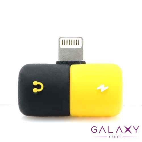Adapter iPhone 7 handsfree/charging crno-zuti
