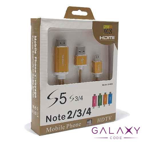 HDTV kabal S-M09 za Samsung S3/S4/NOTE2/NOTE3 (MHL to HDMI) zlatni