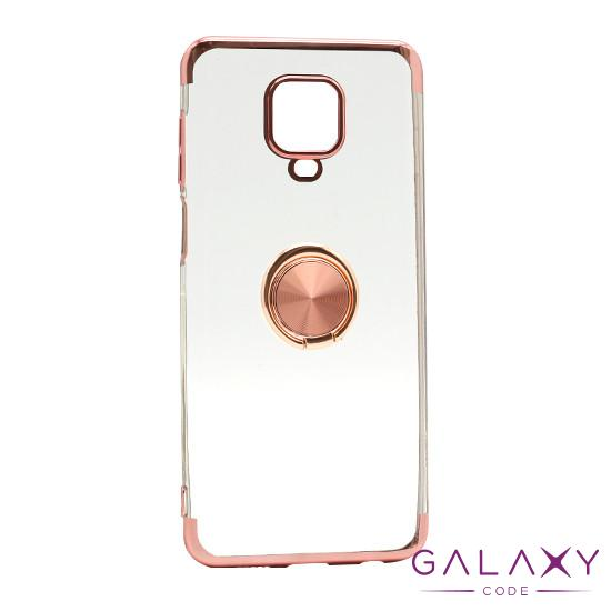 Futrola MAGNETIC RING CLEAR za Xiaomi Redmi Note 9 Pro roze