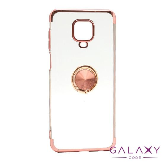 Futrola MAGNETIC RING CLEAR za Xiaomi Redmi Note 9S roze