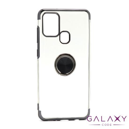 Futrola MAGNETIC RING CLEAR za Samsung A217F Galaxy A21s crna