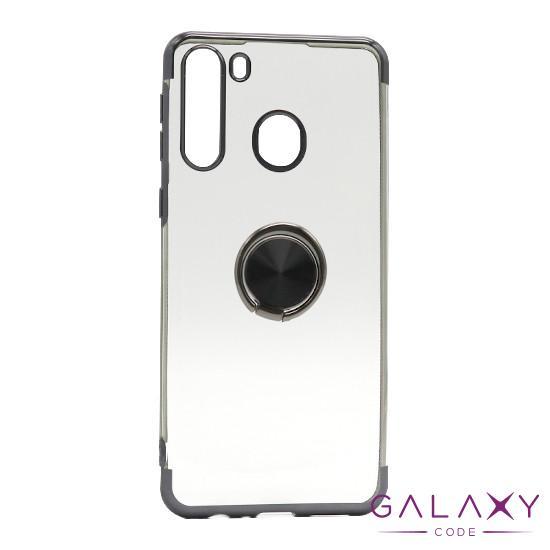 Futrola MAGNETIC RING CLEAR za Samsung A215F Galaxy A21 crna